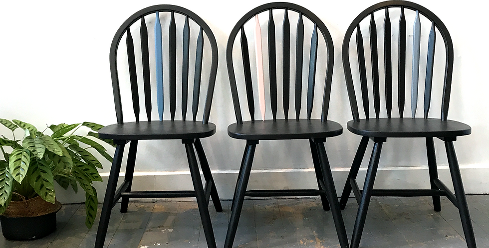 Set of Upcycled Black Chairs