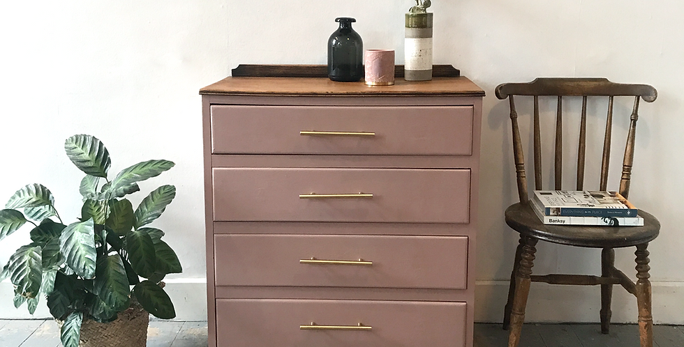 Contemporary Dusty Pink Chest of Drawers