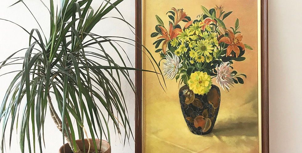 Antique Floral Oil Painting - Price excluding delivery
