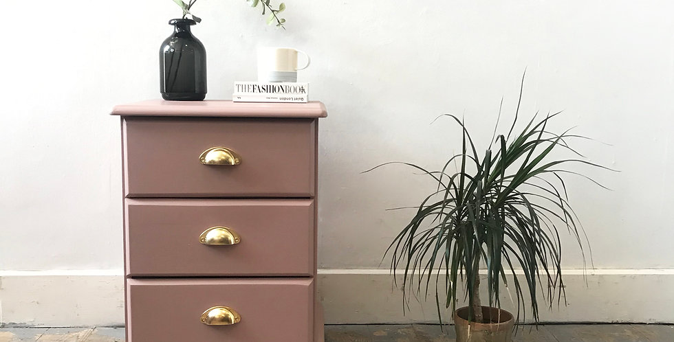 Dusty Pink Bedside Chest of Drawers - Price excluding delivery