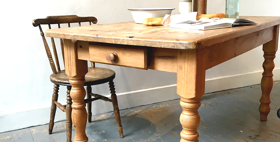 Rustic Pine Farmhouse Table with Drawer