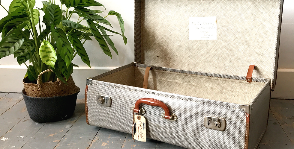 Vintage Retro Suitcase with luggage label