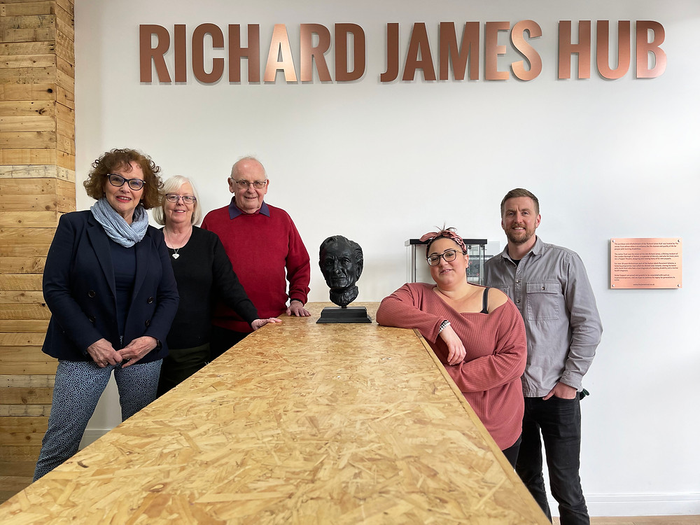 Trustee's Barbara McIntosh, Marian James and Mike James from the James Trust, with Nickel Support founders Elena Nicola and Nick Walsh.