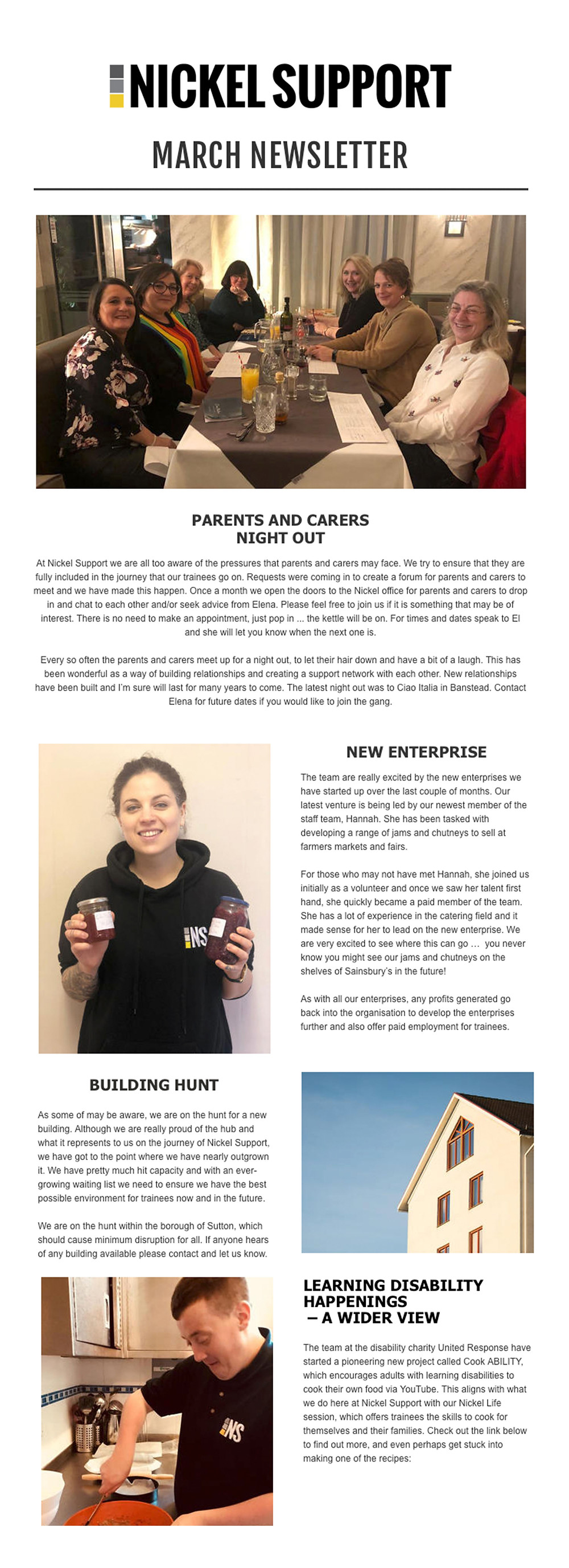 nickel support newsletter learning disabilities