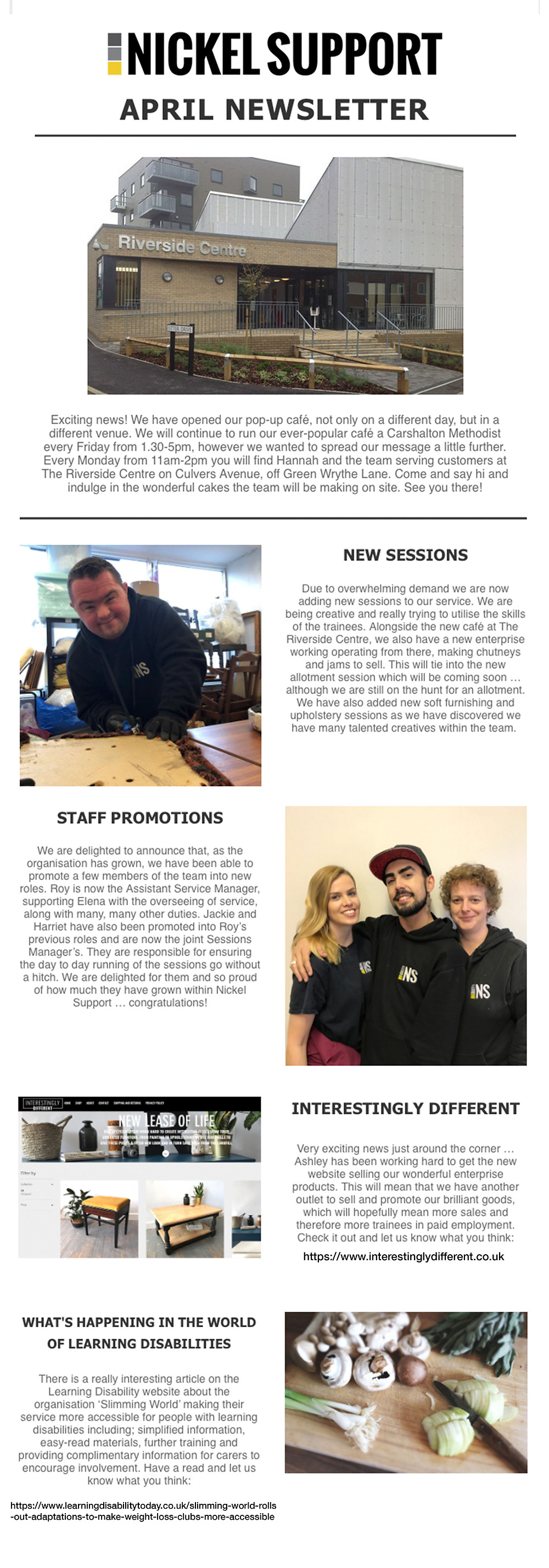 Nickel Support, learning disability, newsletter, disability service, social enterprise