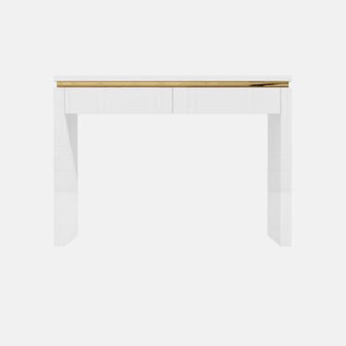 White Gloss with Gold Trim Manicure table