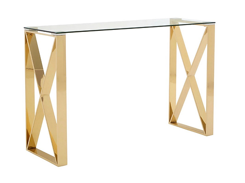 Boutique Glass Top & Champagne Gold Manicure Table