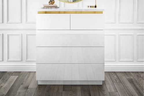 White Gloss With Gold Trim 5 Draws