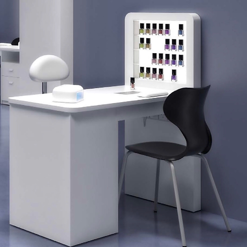 White Manicure table with dust extractor and shelving unit