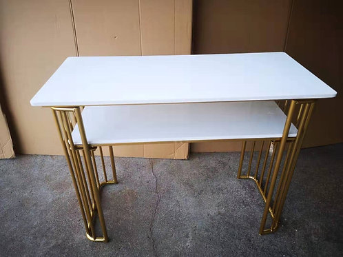 White Manicure table and stainless steel gold legs Table 100cm