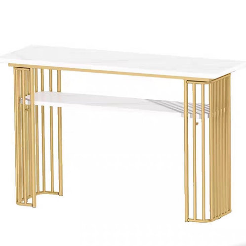 White Manicure table and gold legs Table 100cm