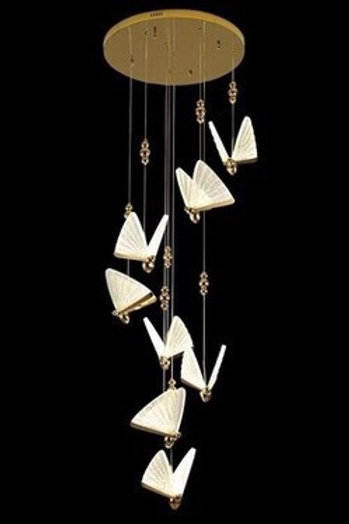 8 Butterfly Clear & Gold Pendant Light