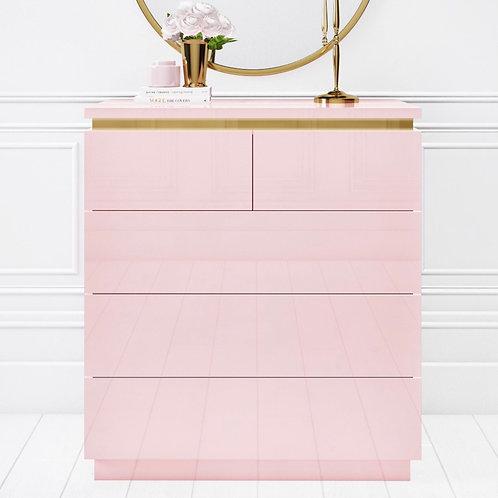 Pink with Gold Trim Makeup 5 Draws