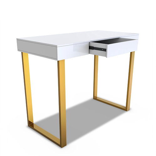 White Gloss with Gold legs Reception desk with draw