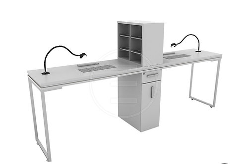 Venus Silver Double Manicure Table