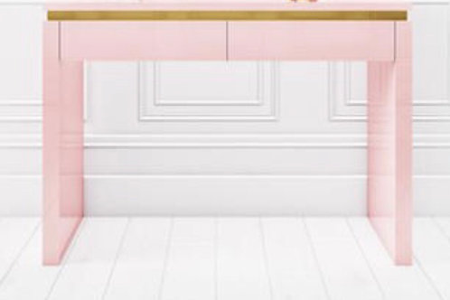 Pink Gloss with Gold Trim Manicure Table