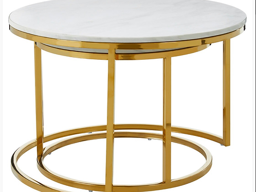 Double Round Marble & Gold Reception Table