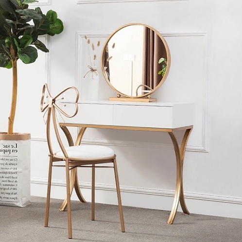 White Wood Makeup Table with Round Mirror & Chair Set Gold Metal Base