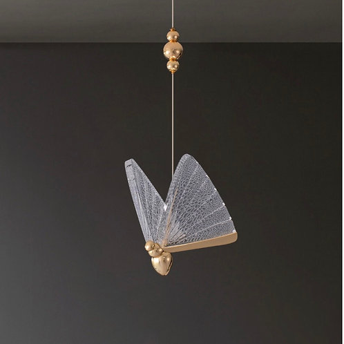 1 Butterfly Gold & Clear Pendant  Light