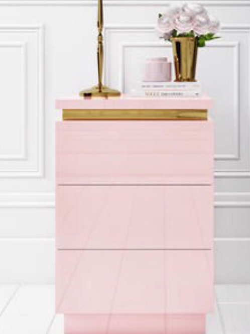 Pink Gloss with Gold Trim bedside