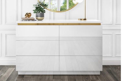 White Gloss with Gold Trim 6 Draws