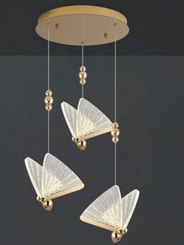 3 Butterfly Clear & Gold Pendant Light
