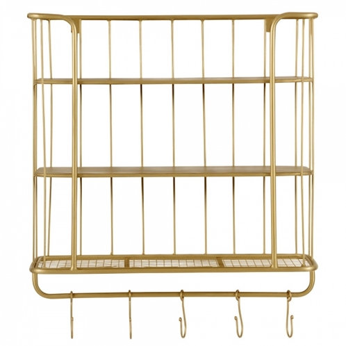 Wall Hanging shelving unit Brushed Brass