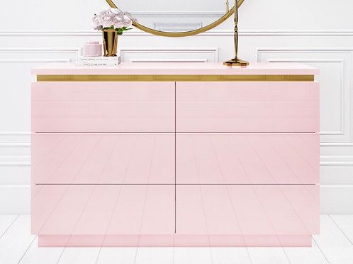Pink with Gold Trim 6 Draws