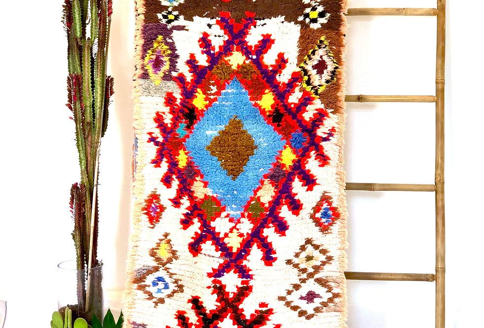 Colorful Diamond Pattern Hand-Woven Boucherouite Rug