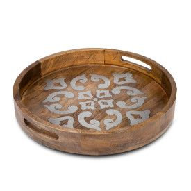 "Wood/Metal 20"" Round Tray"