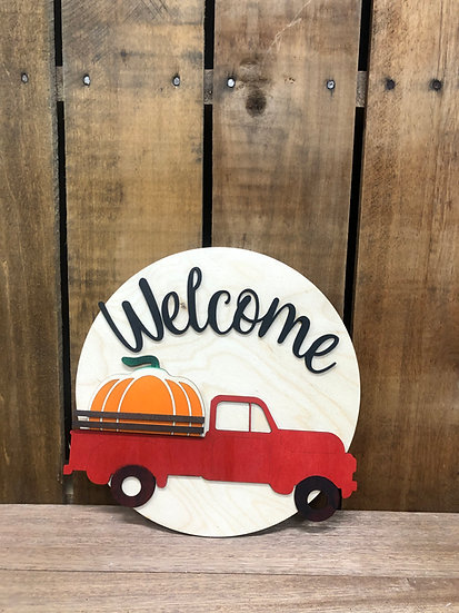 Vintage Truck Welcome Sign