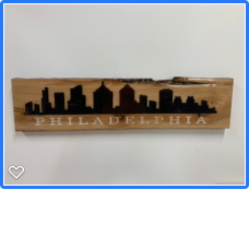 Philadelphia skyline in reclaimed wood