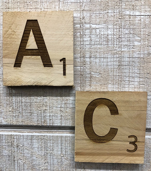 Reclaimed Wood Scrabble Tiles