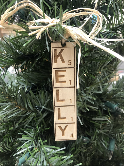 Scrabble Ornament or Bag Tag
