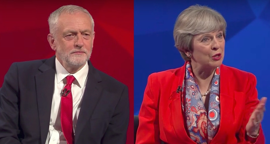 Labour Party's Jeremy Corbyn (left), current Prime Minister Theresa May (right)