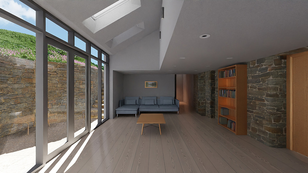 Photo-realistic render for project at Leigh Cottage. Extension and alteration to stone house