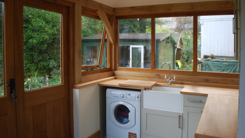 Architectural photo of oak framed extension