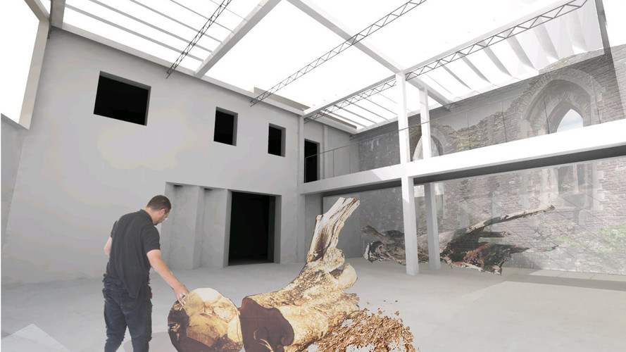 Architecture render for proposed artist workshop at Newport castle.