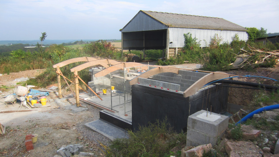 Photo of architectural design project during construction