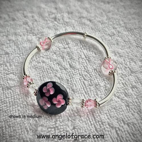 Pink Ribbon Awareness Bracelet (Black lampwork bead with Pink flowers)
