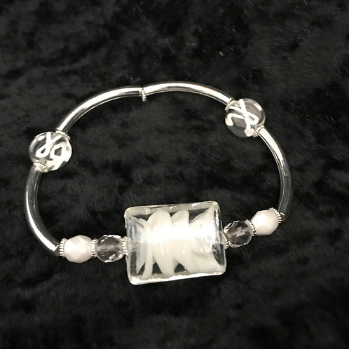 White Ribbon Awareness Bracelet