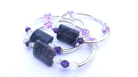Purple Ribbon Awareness Bracelet