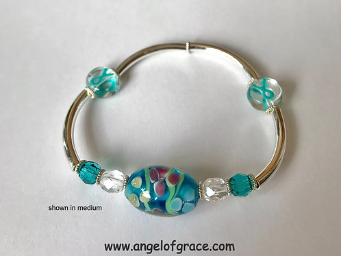 Teal Ribbon Awareness Bracelet