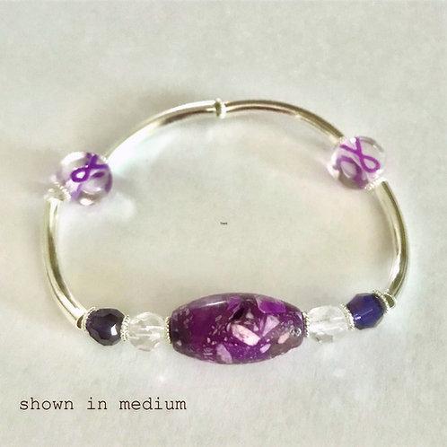 Purple Ribbon Awareness Bracelet