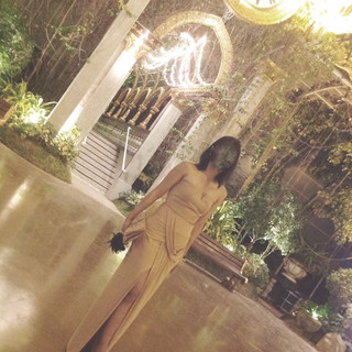 Nude two 2 Piece Gown drape Skirt and to