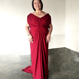 Maroon Georgette Draping Mother's Gown_e