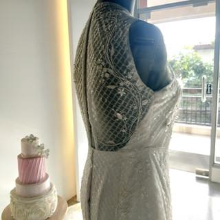 Fully Beaded Garden Pattern Wedding Gown