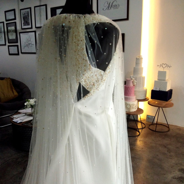 Soft tulle Cape on an off white satin br