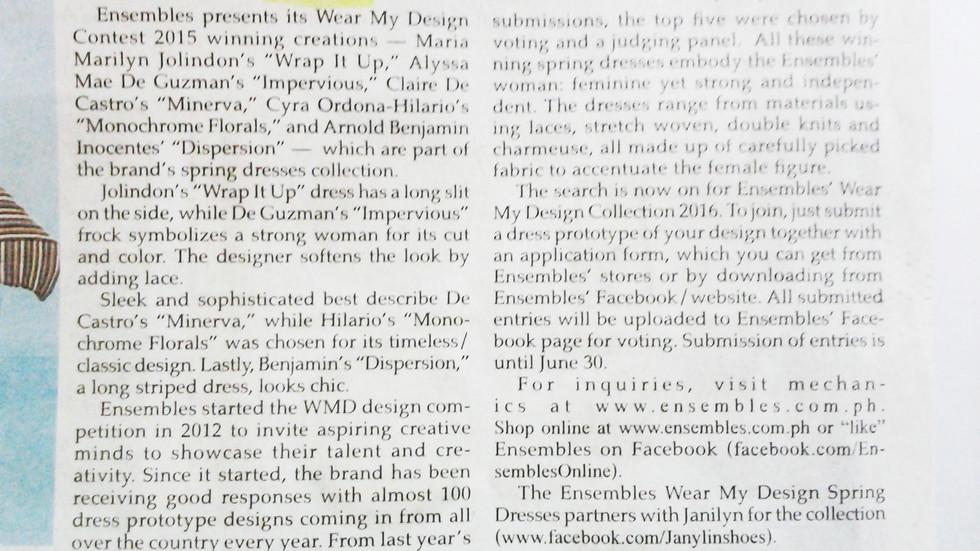 Alyssa de Guzman AD Philippine Star Wear my Design contest Winner