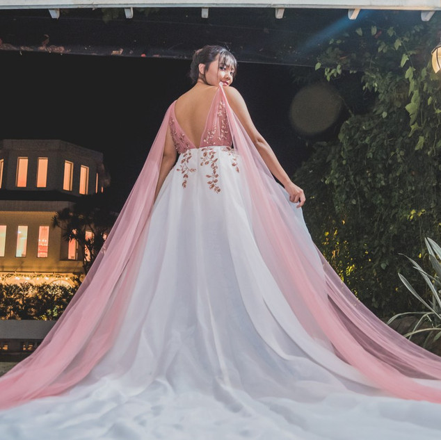 Bettina in her pink debut gown